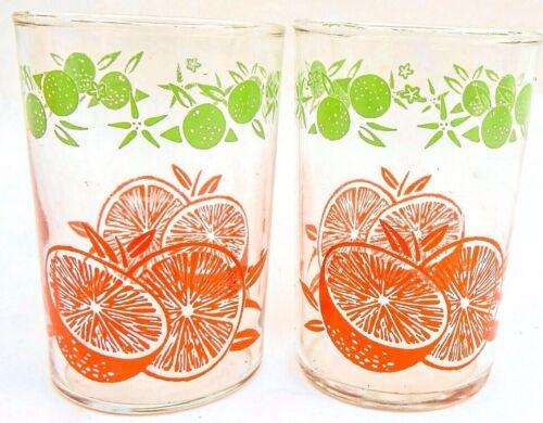 VINTAGE LOT OF 2  INDIANA GLASS ORANGE JUICE TUMBLERS 4 OUNCE CAPACITY