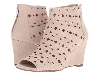 MICHAEL KORS women UMA WEDGE Open Toe Ankle Booties Wedge Heel Suede Beige 10 M
