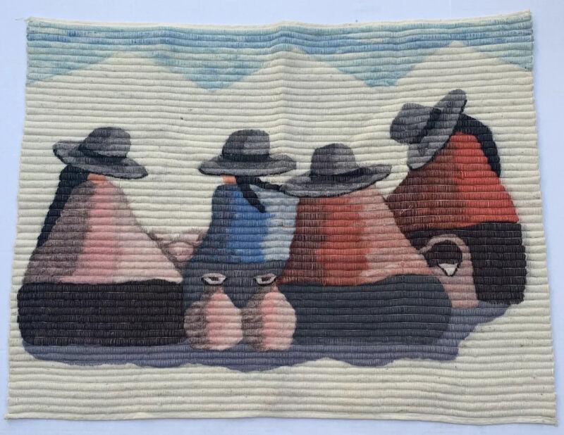 "Vintage Peruvian Wall Woven Wool Tapestry 38"" X 30"" Folk Art"