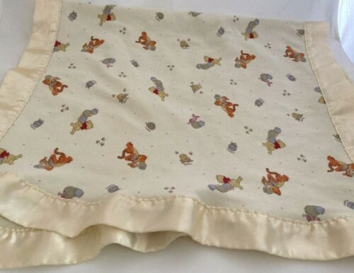 Vintage Winnie The Pooh 100 Acre Collection Disney Baby Blanket Satin Edges