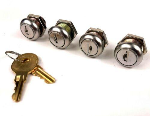 "4pk Keyed Alike Replacement 3/4"" Cabinet Cam Lock - 8 Keys -Toolbox Safe Drawer"
