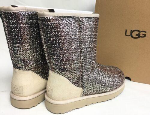 $109.99 - UGG Australia BRONZE CLASSIC SHORT FRILL TWEED SUEDE SHEEPWOOL BOOTS 1019182