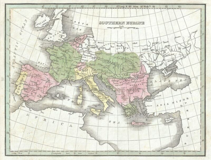 1835 Bradford Map of Southern Europe