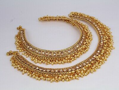 Gold Plated Belly Dance Indian Fashion Jewelry Polki Pair Anklet Payal Women New