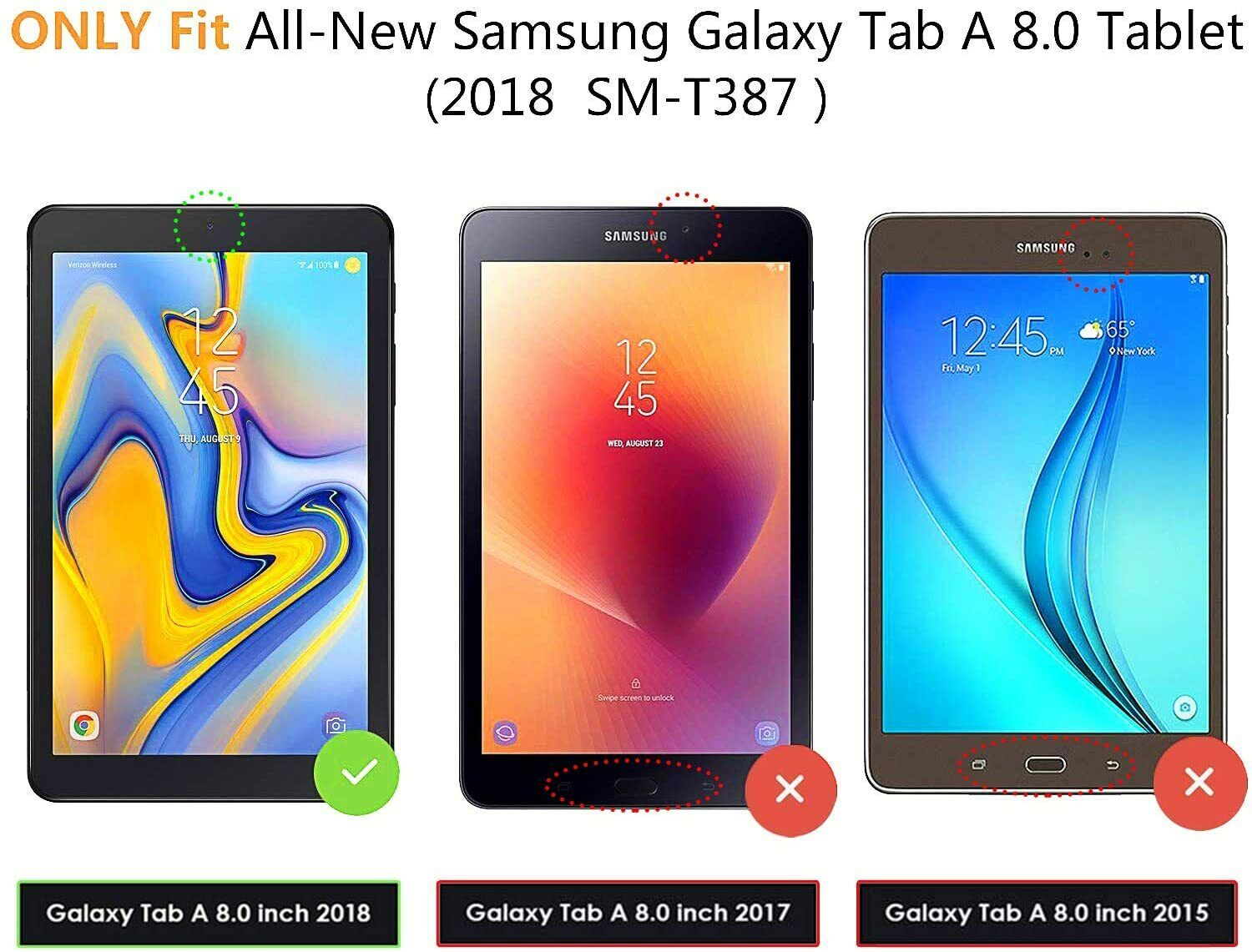 2 Pack Screen Protector Tempered Glass for Samsung Galaxy Tab A 8.0 2018 SM-T387 Cases, Covers, Keyboard Folios