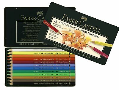 Faber-Castell Polychromos Colored Pencils 12 Count in Metal Tin *Sealed* - Metallic Colored Pencils