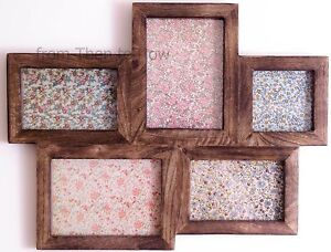Large Multi Wooden Photo frame 5 Picture in Dark Wood by