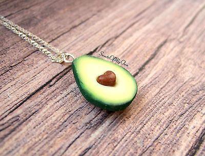 Avocado Necklace - Heart Necklace - Avocado Charm - Food Jewellery - Handmade in