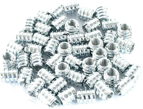 """POWERTEC 1/4""""-20 Threaded Inserts Zinc Plated 11.9mm Length for Wood Furniture"""