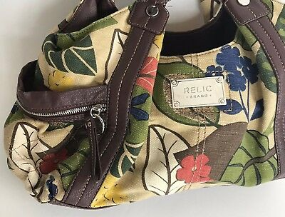 Relic Brand Floral Satchel Large Multi Color Brown Faux Leather Accents Funky Funky Multi Color