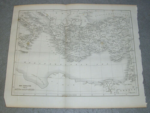 Antique Biblical Map Acts of Apostles Holy Land Mediterranean Greece Rome 1844