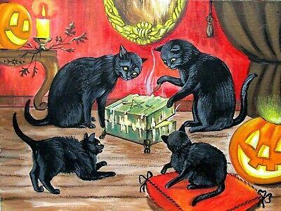 ORIGINAL OOAK HALLOWEEN RYTA BLACK CAT SPIRIT BOX GHOST DYBBUK HAND PAINTED ART