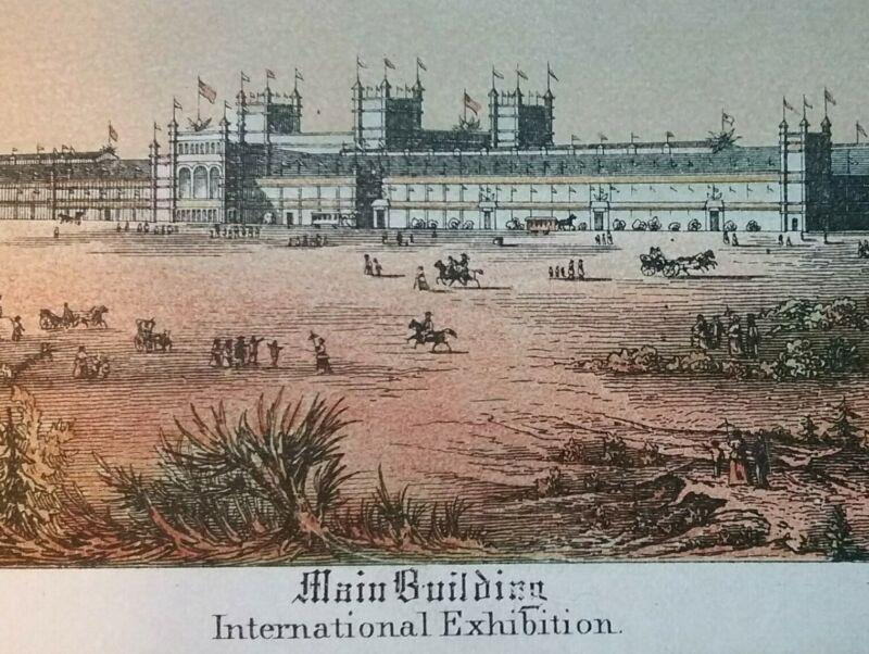1876 Centennial Exposition Philadelphia PA Main Building Citti Lithograph Card
