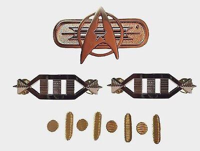 Star Trek Movie Uniform Full Set of Metal Pins For The Rank Of Captain - Star Trek Movie Uniforms