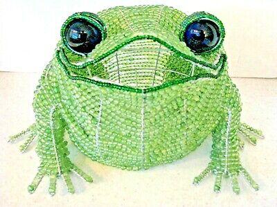 Beaded Frog—Wire Frame Large Handmade Green Beaded Frog, Blue Glass Eyes, Light?