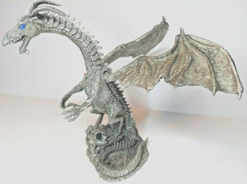 """5""""H Pewter Dragon Standing Tall Ready for Battle Vintage 2000 Made in USA D&D"""