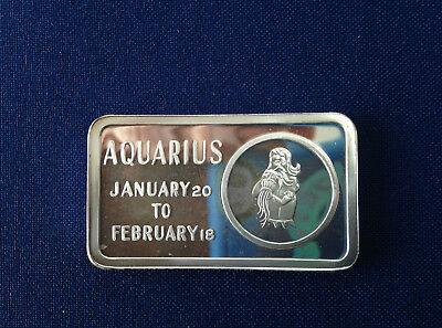 1973 Jacques Cartier Mint Aquarius Zodiac Jcm 16 Silver Art Bar P2136