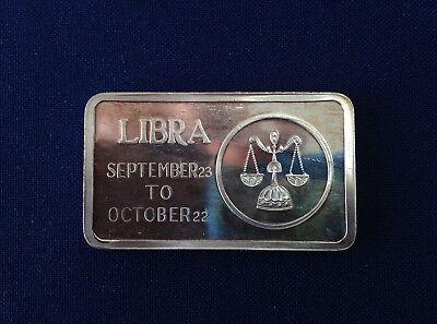 1973 Jacques Cartier Mint Libra Zodiac Jcm 12 Silver Art Bar P2134