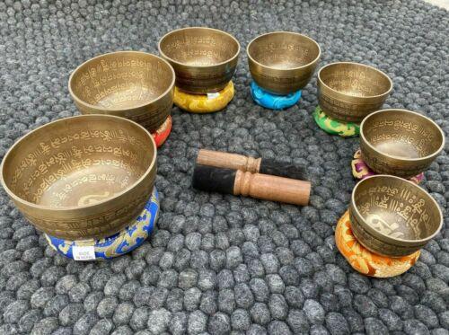 mantra Chakra Healing Tibetan Singing Bowl Set of 7 Hand Hammered  Meditations