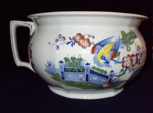 Antique Polychrome English Ironstone Chamber Pot - Asian Chinoiserie Design
