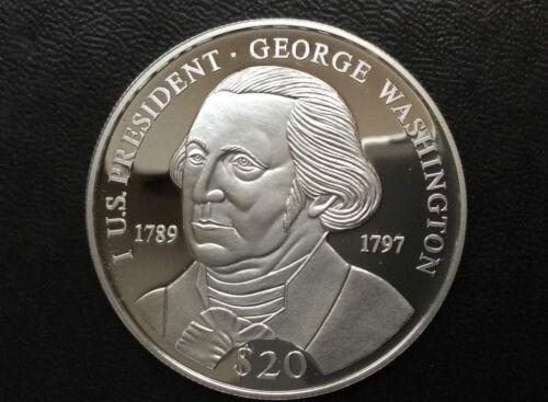 2000 Republic of Liberia George Washington $20 Silver Coin A2434