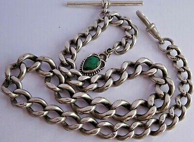 Stunning antique solid silver pocket watch albert chain & fob set w green stone