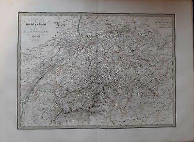 Große Antike Karte (Karte Geografische Antike der Schweiz oder Helvetia Groß Format 1830 Atlas)