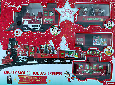 Disney Mickey Mouse Holiday Express 36 Piece Collectors Edition Train Set