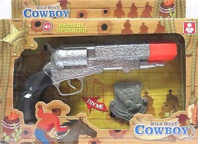 tolle Spielzeug-Pistole Western, Wild West- Revolver mit Sound Polizei Abzeichen ()