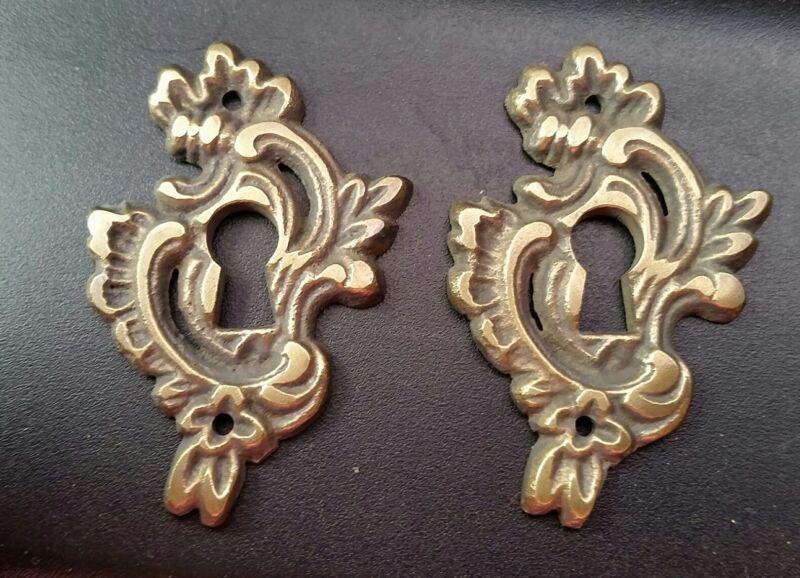 2 Antique Brass French Keyhole Escutcheons Ornate Fancy Keyhole Escutcheon #E15