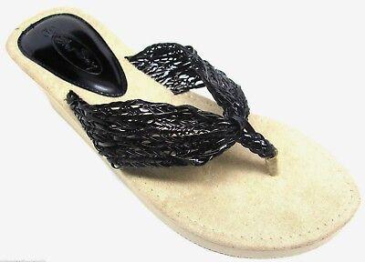 Womens Black Braided Strap EVA Wedge Thongs Flip Flops Sandals Size 6 -11 NEW Strap Wedge Flip Flops