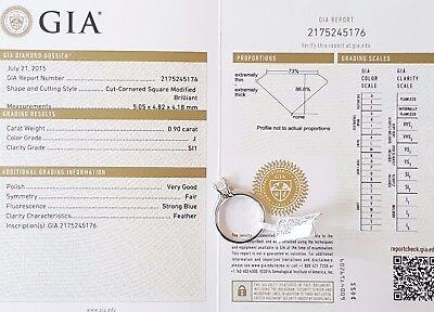 1.04 ct Cordova 14K White Gold Radiant Cut Diamond Solitaire Engagement Ring GIA 3
