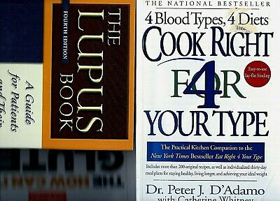 Lot of 3 Books on Lupus & Eating for Health: Cook Right 4 Your Type, Gluten Free