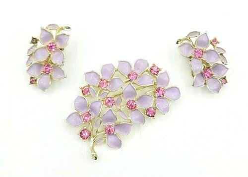 Vintage Sarah Cov Purple Enamels Pink Rhinestone Clip on Earrings & Brooch Set
