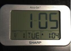 Sharp Accu-Set Digital alarm clock day date Large easy to read blue backlight