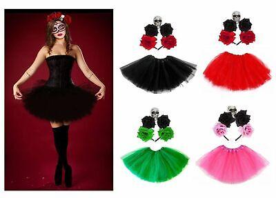 HALLOWEEN TUTU + HEADBAND SENORITA DAY OF THE DEAD Fancy Dress COSTUME Ladies UK (Day Of The Dead Halloween Costume Uk)