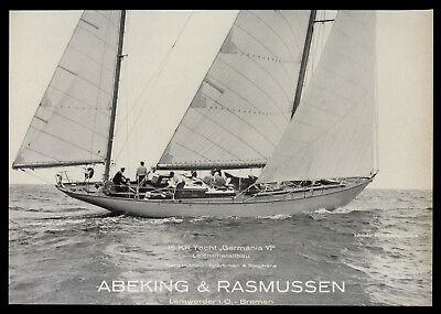 Grosse Werbung 1963 16 KR Yacht GERMANIA VI Werft Abeking & Rasmussen Bremen