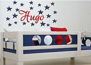 beau stickers mural enfant personnalis pr nom mod le etoiles fille gar on ebay. Black Bedroom Furniture Sets. Home Design Ideas