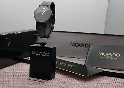 Swiss Movado Sapphire Classic Super Thin Black PVD Model # 0601050 Men's Watch