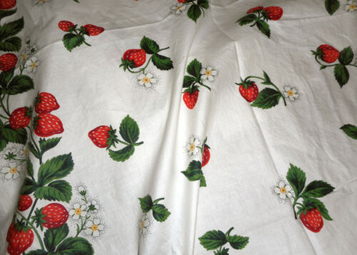 Vintage Strawberry Strawberries Floral Cotton Fabric ~  Red Green White Yellow