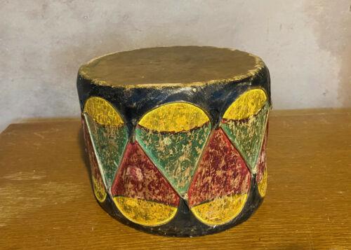 Vintage Painted COCHITI Pueblo DRUM Folk Art Kachina