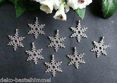 8 Metall Anhänger Schneeflocke Stern,  zum Charms und Anhänger, Perlen basteln