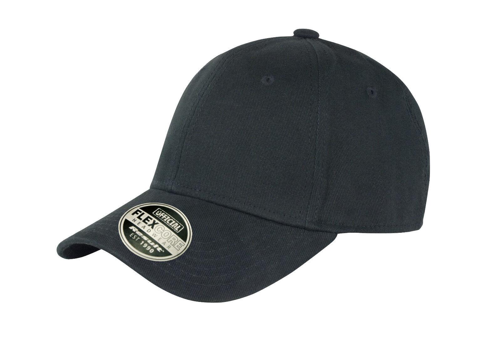 New Unisex Plain Black Flexible Fit Flex Core Cotton Fitted Baseball Cap