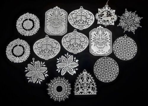 15 Vintage White Metal Filigree Christmas Ornaments 9 different shapes