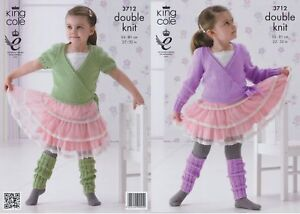 Girls DK Ballet Cardigans & Leg Warmers Knitting Pattern King Cole - 3712