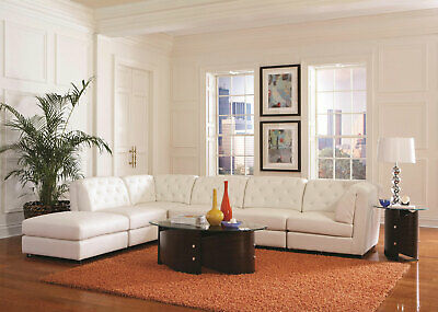 NEW Modular Sectional Living Room Furniture White Leatherette Sofa Couch Set G75