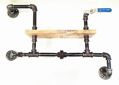 Used, Steampunk Iron Pipe Shelf with Gauge & Valve (Pick your own stain) for sale  Shipping to India