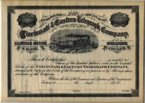 Cincinnati & Eastern Telegraph Company Stock Certificate