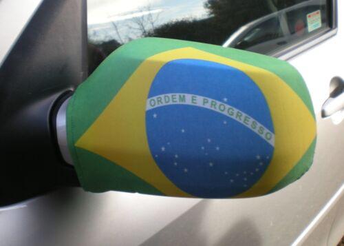 CAR WING MIRROR SOCKS FLAGS, COVERS, FLAG-UPS! - BRAZIL BRAZILIAN