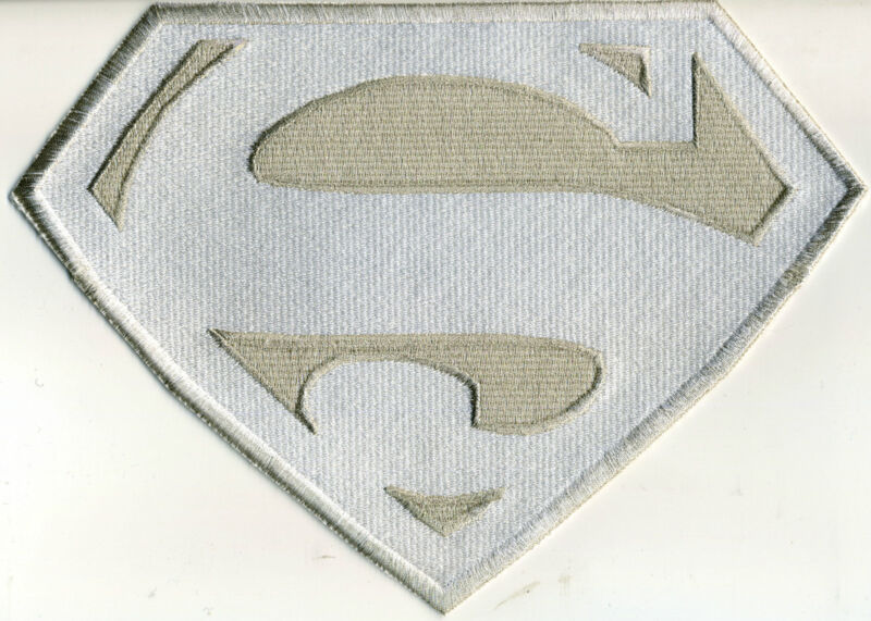 """7"""" x 10"""" Fully Embroidered Superman Chest Logo Patch  - White & Silver"""